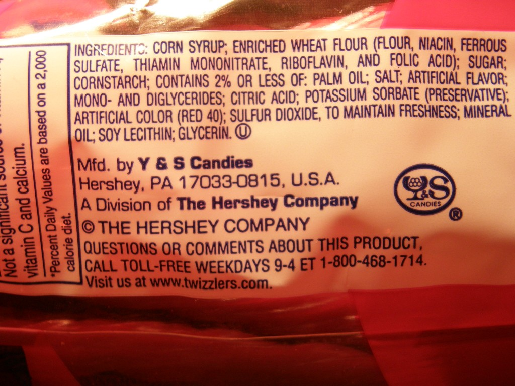 Twizzlers List of Additives