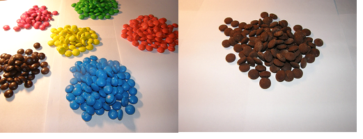 M & M's before and after the extraction