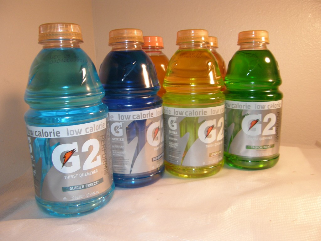 A variety of Gatorade flavors
