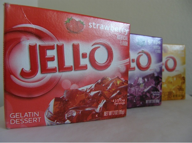 Jell-O strawberry, grape and apricot. 3 OZ (85 g), $0.62