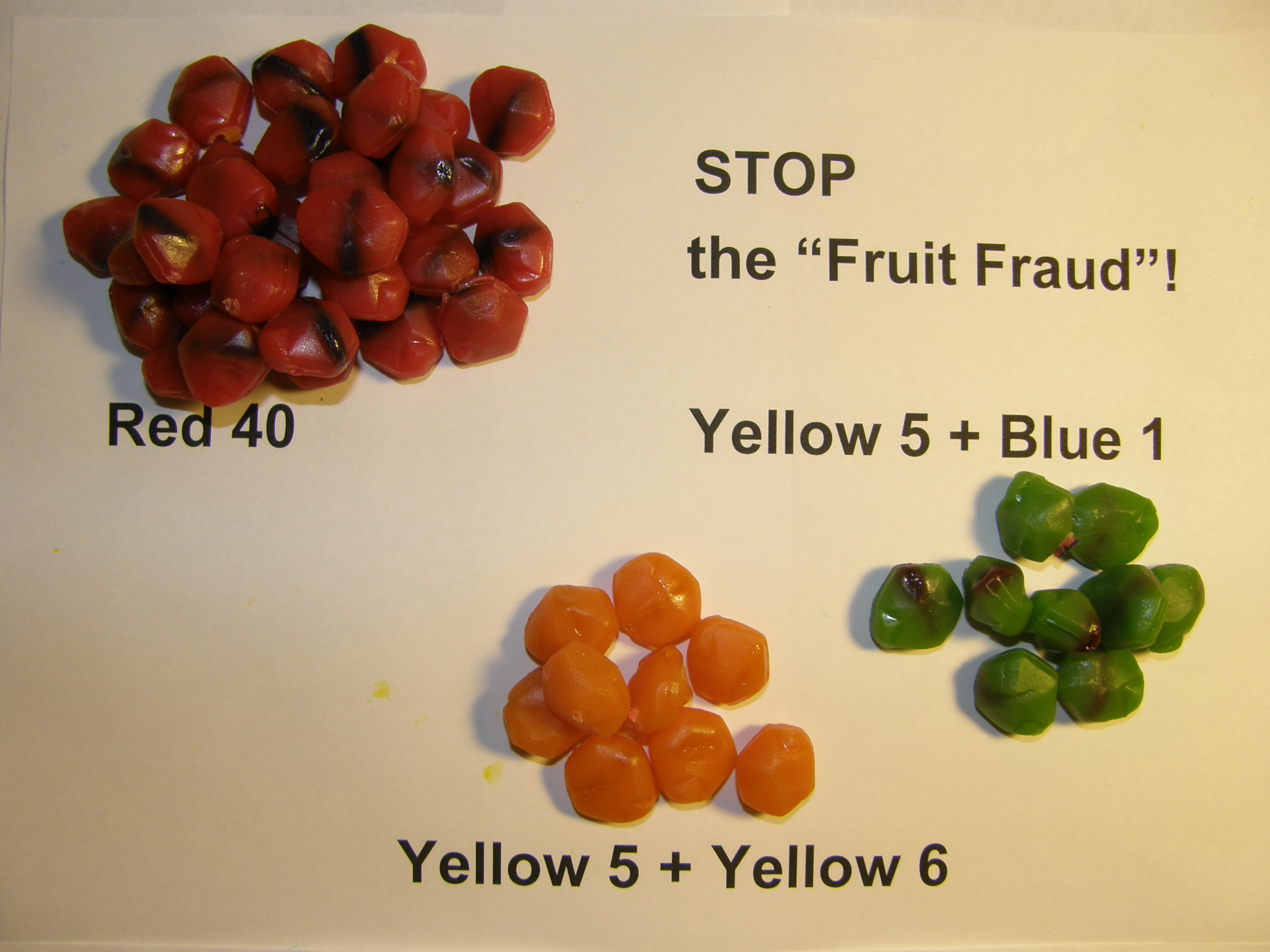 Fruit Gushers sorted by color for the analysis