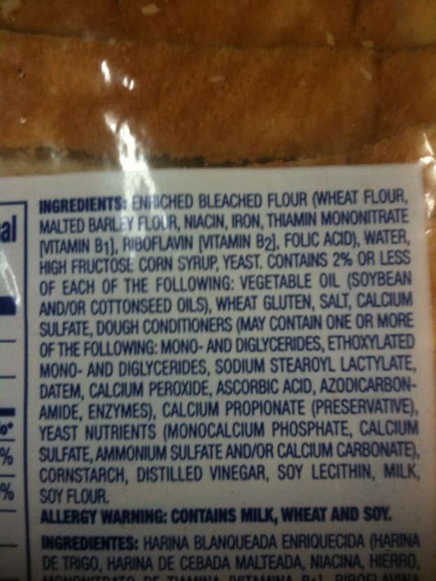 Ingredients of Great Value White Sandwich  Bread