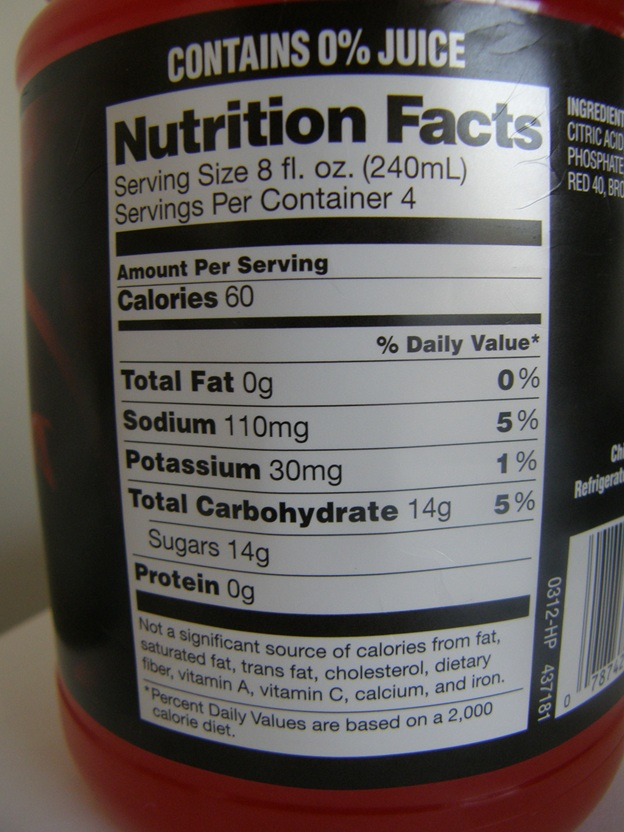 Great Value Sports Drink Nutrition Facts