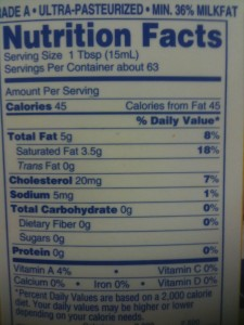 Hiland Heavy Cream Nutrition Facts