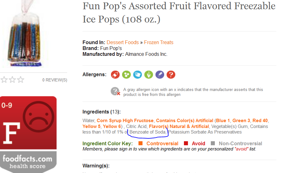 Food Facts: Fun Pops result