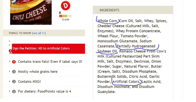 Fooducate result for Fritos corn chips