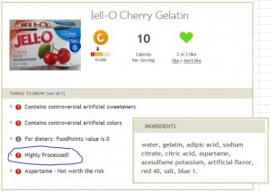 Fooducate Jell-O Cherry result