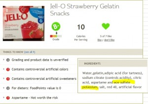 Fooducate Jell-O strawberry result