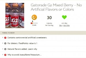 Fooducate rating of Gatorade G2