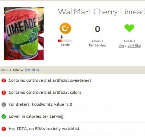 Fooducate rating of Limeade