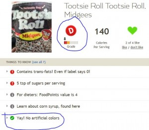 Fooducate result for Tootsie Roll