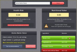 Dye Diet result and GMO warnings for Doritos Nacho Cheese