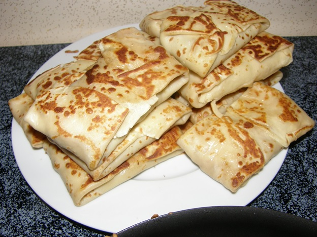 Pancakes stuffed with ground beef