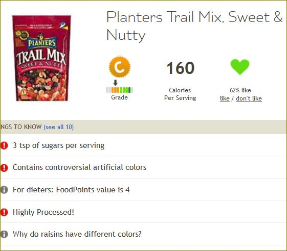Fooducate result for Planters mix