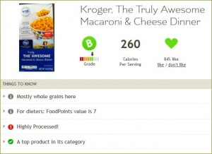 Fooducate result for The Truly Awesome Mac & Cheese