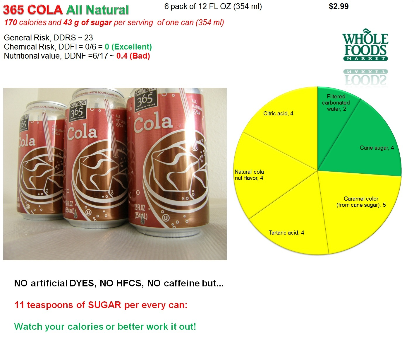 whole foods diet cola ingredienta